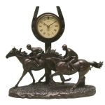 Bronze Effect Horses Galloping Figurine Mantel Table Clock Ornament